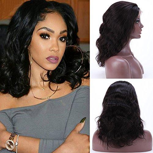 Perruque Femme Vrai Cheveux 100% Cheveux Humains Naturels Bresiliens Remy Ondulé - Lace Front Frontal Wig Naturel Human Hair (Densité: 130%, Longueur: 12\\
