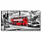 Cuadros L & C Italia-Londres 90x 45cm Quadro Moderno artiginale Sobre Lienzo Made in Italy de Colgar a Pared Impresiones arredamento Ciudad Famosos Blanco Negro Rojo