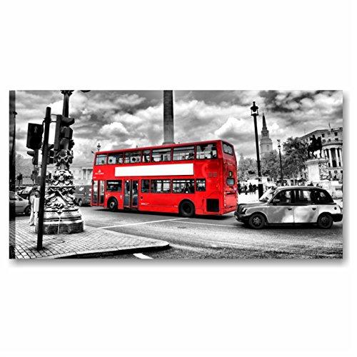Quadri L&C ITALIA Karo L & C Italien-London 90x 45cm Rahmen modern artiginale auf Leinwand Made in Italy wandhängend Möbel Drucke Stadt berühmten weiß schwarz rot -