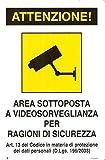 CARTELLO TARGA CM 20X30 AREA VIDEOSORVEGLIATA SOTTOPOSTA A VIDEOSORVEGLIANZA