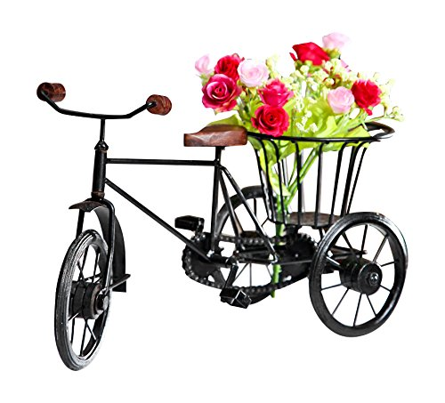 Pindia Wooden & Wrought Iron Small Miniature Tricycle Flower Rikshaw Vase