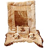 Safe N Cute Baby Puppy Super Soft Velvet Full Sleeping Set With Duvet (Brown) - Trusted Brand High Quality / For Child Whose Age Is B/w 0 - 30 Months Or 2.5 Years /2 Puppy Pillows , 1 Velvet Super Soft Bedding , 1 Velvet Duvet, 1 Rectangular Pillow/ Combo