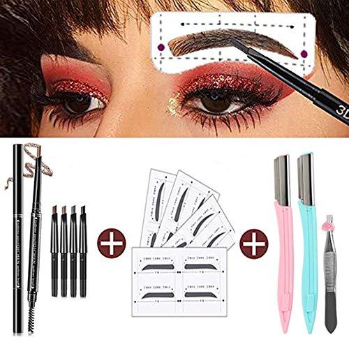 Augenbrauen-Form-Aufkleber die Schablonen Augenbrauen Pflege Schablonen Installationssatz, Augenbrauenstift Wasserfest Doppelkopf Stift Pinsel für Augenbrauen Make-up,Faltbarer Augenbrauenrasierer