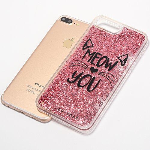 iPhone 7 Plus 5.5 Hülle, Voguecase Silikon Schutzhülle / Case / Cover / Hülle / TPU Gel Skin für Apple iPhone 7 Plus 5.5(Perlen Treibsand - MISS BOSS - Gold) + Gratis Universal Eingabestift Perlen Treibsand-MEOW-Pink