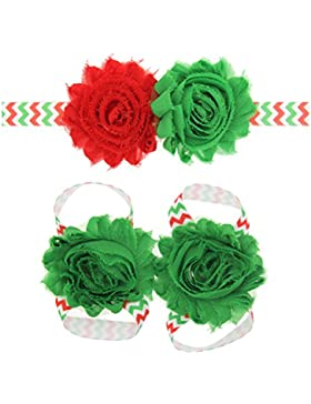 Zhhlaixing Kids Baby Girls Toddler Soft Elastic Flowers Headband Hairband Hair Accessories&Foot Ring for Christmas...
