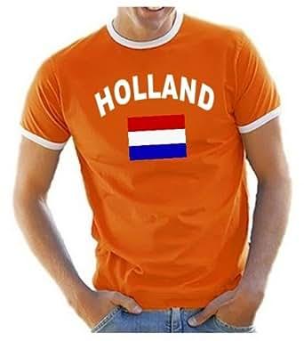 Coole-Fun-T-Shirts Herren T-Shirt Holland Ringer, orange, S, 10839_Holland_HERI_GR.S