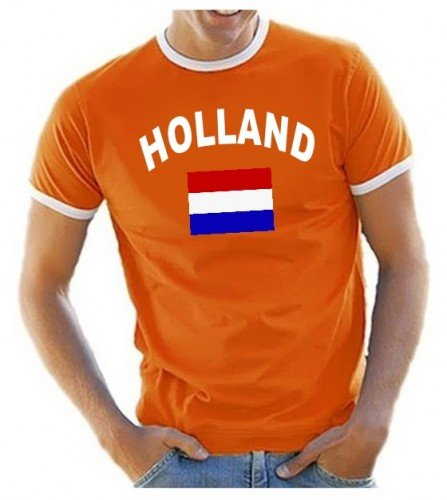 Coole-Fun-T-Shirts Herren T-Shirt Ringer, Orange, XL, 10888_Holland_HERI (Frankreich Trikot Wm 2014)