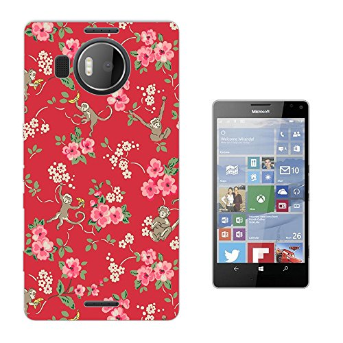 002917 - Pink Shabby Chic Floral Roses flowers Hidden Monkeys Bananas Design Microsoft Nokia Lumia 950 XL Fashion Trend Silikon Hülle Schutzhülle Schutzcase Gel Rubber Silicone Hülle