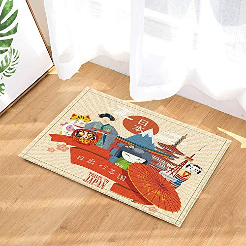 ZZ7379SL Fernweh Bad Teppiche Weltkarte mit Wahrzeichen der Stadt für Reiseführer 3D-Digitaldruck 40x60CM Schlafzimmer Küche Kinder Badezimmer Matte Zubehör