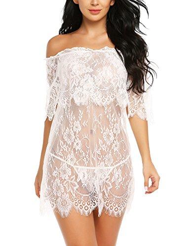 Meaneor_Fashion_Origin Damen Sexy Nachthemd Kurz Negligee Nachtwäsche Sleepwear Unterkleid Lingerie Unterröcke Kleider Babydoll mit String, Weiß, Large
