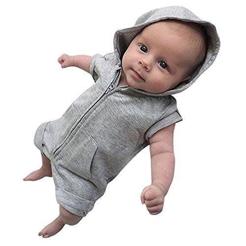 Elyseesen Bébé Garçons Filles Vêtements Solide À Manches Courtes à Capuche Romper Combinaison D'été (Gris, 3 mois/70)