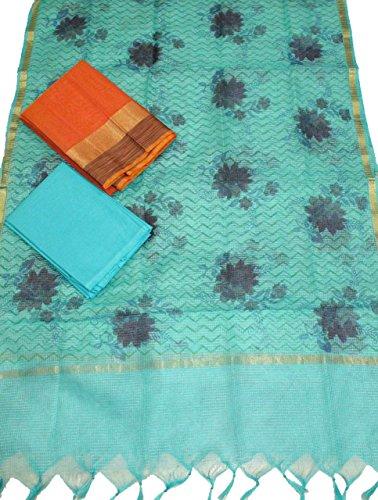 Beautiful Chanderi top with Jute weaving Border teamed with Beautiful Hand Block...