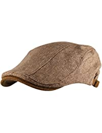 b127c766062 Itzu Mens Flat Cap Hat Woven Brushed Cotton Panel Tweed Gatsby in Natural  Beige or Grey
