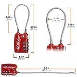 Lot de deux cadenas à code approuvés TSA pour valise bagage casier boite à outils cadenas tsa flexibles cadenas code