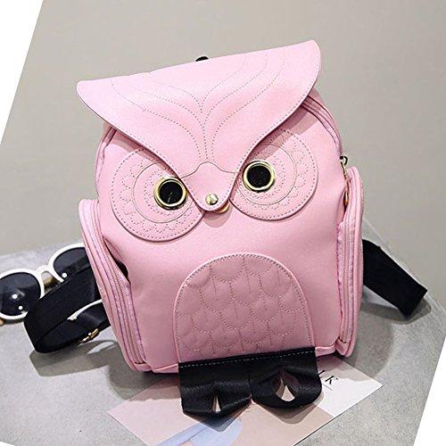 Mode Eulen-Karikatur-Rucksack Mädchen PU-Leder-Mini-Tasche (Schwarz) Rosa