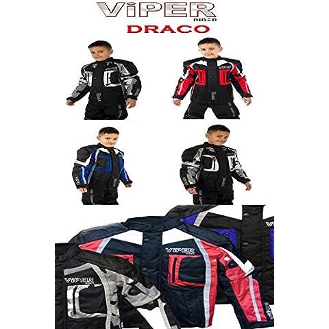 Bambini Moto Giacche: VIPER DRACO CE BLINDATA Bambini Impermeabile Giacca (Nero / Blu) (6-7 anni)