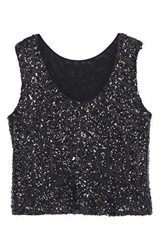 Le Estate Elegante Casual Senza Maniche Scollato Sequince Strisce Giubbotto T - Shirt Camicetta Black