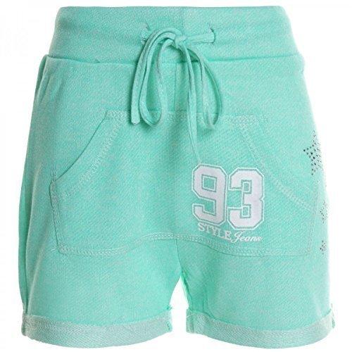 Kinder Mädchen Kurze Hose Bermuda Shorts Sommer Capri Pump Pants Jeans 20361, Farbe:Grün;Größe:158