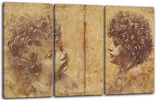 Leonardo da Vinci - Dos cabezas de niños, 120 x 80 cm (3 x 40x80cm) (varios tamaños disponibles), Impresión de la lona enmarcada en el marco de madera genuino y listo para colgar, impresión de alta calidad hecha a mano.