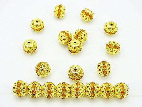 jennysun2010cristallo ceco strass Shamballa Pave Diamante rotondo sfera di metallo Spacer Beads 6mm, 8mm, 10mm Argento Oro Rame Placcato Gunmetal 100pcs per borsa per braccialetto collana orecchini gioielli artigianato design, Topaz on Gold, 6 mm