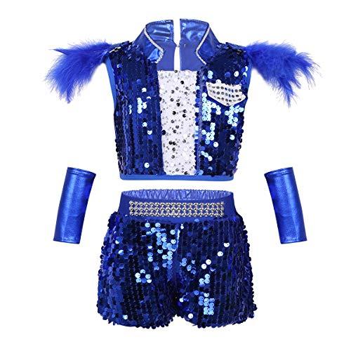 inhzoy Kinder Jungen Kostüm Bekleidungsset Pailletten Hip Hop Jazz Schulbühnen Dancewear Crop Tops & Short Modern Dance Glänzend Trikot Outfit Tanzkostüm Body Gr. 98-164 Blau 152-164/12-14 Years