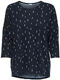 JdY Damen Langarmshirt JDYWINNER 3/4 AOP TOP JRS EXP NOOS, Mehrfarbig (Navy Blazer Anchor), 38 (Herstellergröße: M)