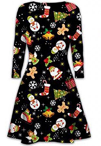 Women Daughter Sister Novelty Santa Rudolph Swing Flare Skater Plus Size Dress