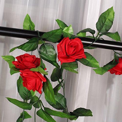 ULTNICE 2 Stück Seide Rosen-Girlande Deko Blumengirlande Kunstpflanze Kunstblume Girlande