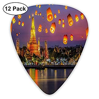 Guitar Picks - Abstract Art Colorful Designs,Wat Arun Building Thailand Bangkok Coastline People Wishing Positive Asian Culture,Unique Guitar Gift,For Bass Electric & Acoustic Guitars-12 Pack