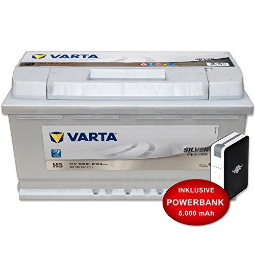 Preisvergleich Produktbild Autobatterie H3 - 12 V / 100 Ah - 830 A/EN Varta Silver inkl. 10 Ah PowerBank -- Auto KFZ PKW Batterie