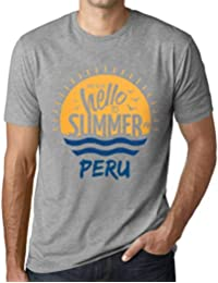 Hombre Camiseta Vintage T-Shirt Gráfico Time To Say Hello To Summer In Peru Gris