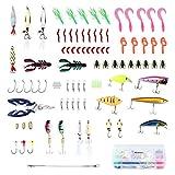 Enkeeo 106 Pezzi Kit di Esche Artificiali da Pesca Rigide Morbide...