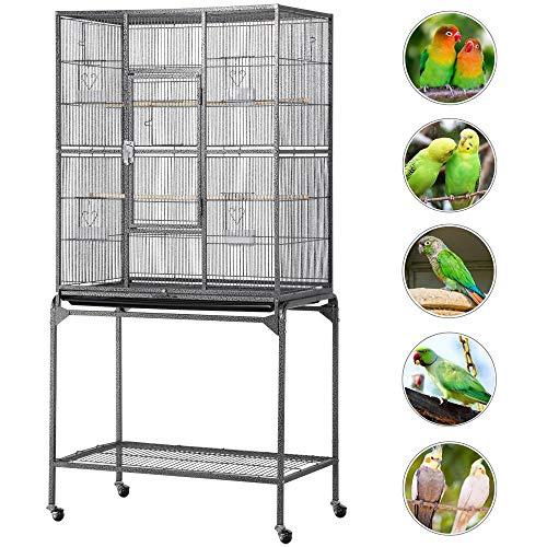 Yaheetech Gabbia per Pappagalli Grandi Voliera Grande per Uccelli con Piedistallo Ruote Posai da Interno Esterno in Metallo e Legno egno
