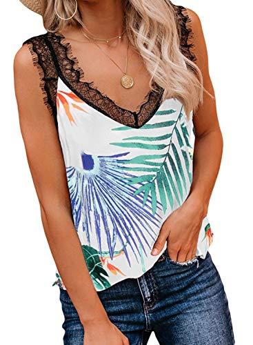 Bobopai Cami Top Women Cold Shoulder Floral/Tie-Dyed/Solid Straps Camisole Plus Size Vest Tank Ladies Loose Blouse -