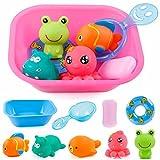 NEDOON Bad Spielzeug 9 PCS Baby Spaß Farbe und Tier Bildung Spielzeug Schwimmende Badewanne Dusche Pool Badezimmer Spielzeug Für Baby Kleinkind Infant Kid Party