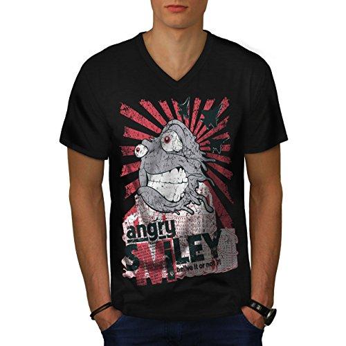 Smiley Monster Horror Glauben SMOG Herren M V-Ausschnitt T-shirt | Wellcoda