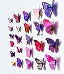 12 stickers Muraux de Papillons 3D St...