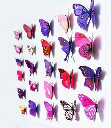 12 stickers Muraux de Papillons 3D Sticker Mural Autocollants bricolage