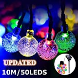 50 Led Lichterkette Solar Außen, 10 M 8 Modi Beleuchtung Solarlichterkette mit Wasserdicht Lichtsensor Kristall Kugel Mehrfarbig Solarlampe Dekoration für Garten Party Hochzeiten Bäume Weihnachten