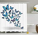 Abakuhaus Duschvorhang, Schmetterling Blau mit Klarem Hintergrund Welche Fliegen Flattern Natur Design Druck Blau Weiß, Blickdicht aus Stoff mit 12 Ringen Waschbar Langhaltig Hochwertig, 175 X 200 cm