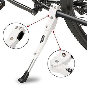 """ANWONE Caballete Lateral Ajustable, Soporte de Bicicleta de aleación Ajustable MTB con pie de Goma Antideslizante, Soporte de pie de aleación Universal para Bicicleta 22""""-29""""(Blanco)"""