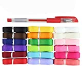 Fabric Ribbons, HBF Pack of 18 Multi-color, Polyester Strap, 10mm Width, Grosgrain Ribbon DIY Crafts for Gift Wrapping, Creative Art, Wedding & DIY Bow Hair Accessories Coloured Ribbon