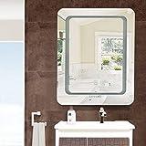LUVODI Badspiegel LED Spiegel mit Beleuchtung durch satinierte Lichtflächen Badezimmerspiegel Dimmbar Touch Schalter Badzimmer Kosmetikspiegel 50 x 40cm IP44 energiesparend