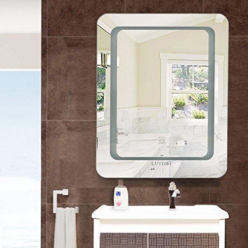 Luvodi luv specchio bagno led specchio con illuminazione mediante satinierte superfici di luce specchio da bagno 40x 50cm touch interruttore stanze da bagno specchio specchio cosmetico
