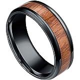 Republe Uomini 8mm Retro Titamium e Tarsia Lignea anello in acciaio inox Anello fascia di cerimonia nuziale Anello Accessori