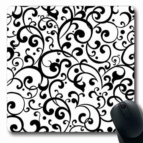 Luancrop Mousepad Oblong Meadow Swirl Schwarz Muster Clip Weiß Bush Floral Swirly viktorianischen Blatt Design Gras Büro Computer Laptop Notebook Mauspad, rutschfeste Gummi -