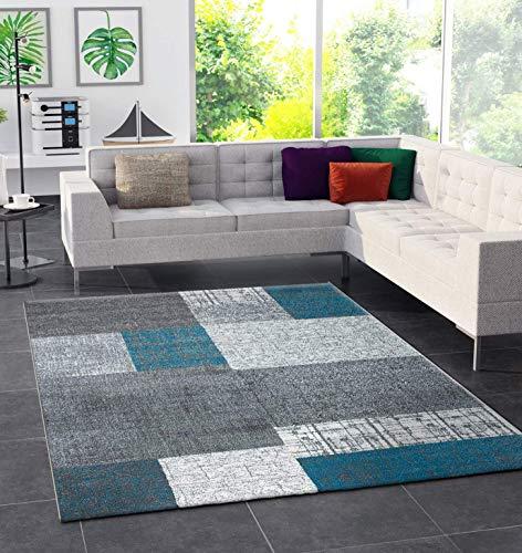 Vimoda tappeto di design a pelo corto in turchese blu, grigio e bianco effetto mattonelle, di facile manutenzione &ndash, dimensioni: 160 x 230 cm.