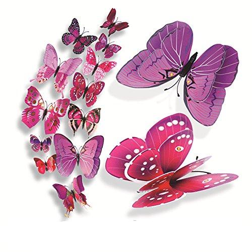 Vovotrade® 12 Pcs 3D Stickers muraux Papillon Aimant pour Décoration Nouveau (violet-1)