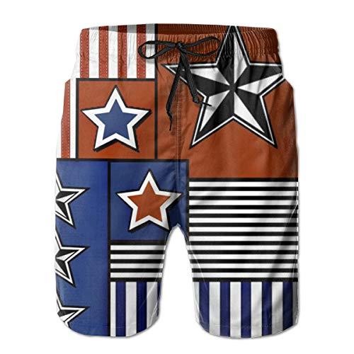 Gorgeous Socks Americana Cheater Quilt_2852 Men's Shorts Casual Classic Fit Drawstring Summer Beach Shorts Beachwear Summer Holiday Swim Trunks Calvin Quilt