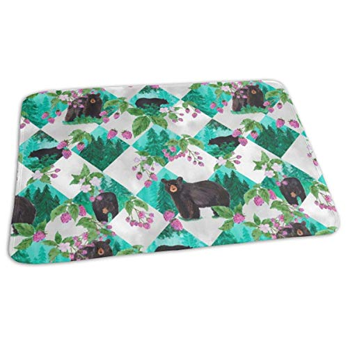 Forest Bear and Berries White Baby Portable Reusable Changing Pad Mat 19.7X 27.5 inch -